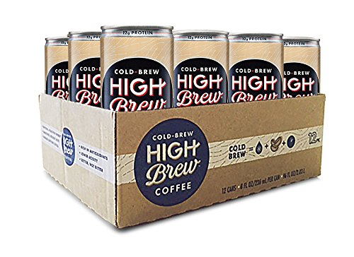 High Brew Cold Brew Coffee Creamy Cappuccino plus Protein 8 Fl oz (12 Count) Grab & Go Pre-Made Cold Brew Coffee Low-Acidity Caffeine Drink