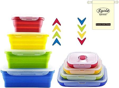 Rectangulaires, 4 Pack 4 Pcs R/écipients Alimentaires en Silicone Ensemble de Bo/îtes de Rangement D/éjeuner Bento Box Sans BPA Passe au Micro-ondes Lave-vaisselle et Frigo