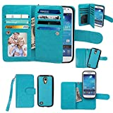 Case for Samsung Galaxy S4 mini, xhorizon Premium Leather Folio Case [Wallet Function] [Magnetic Detachable] Fashion Wristlet Lanyard Hand Strap Purse Soft Flip Book Style Multiple Card Slots Cash Compartment Pocket with Magnetic Closure Case Cover Skin ZA5 for Samsung Galaxy S4 mini (I9190) - Blue