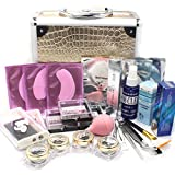 Ships From CA, USA Deluxe Gold Case 25 in 1 Professional Eyelash Extension Mink False Eye Lash Lashes Glue Removal Mascara Full Kit Super Set with Fashion Gold Hard Box Suitcase A158 (B)
