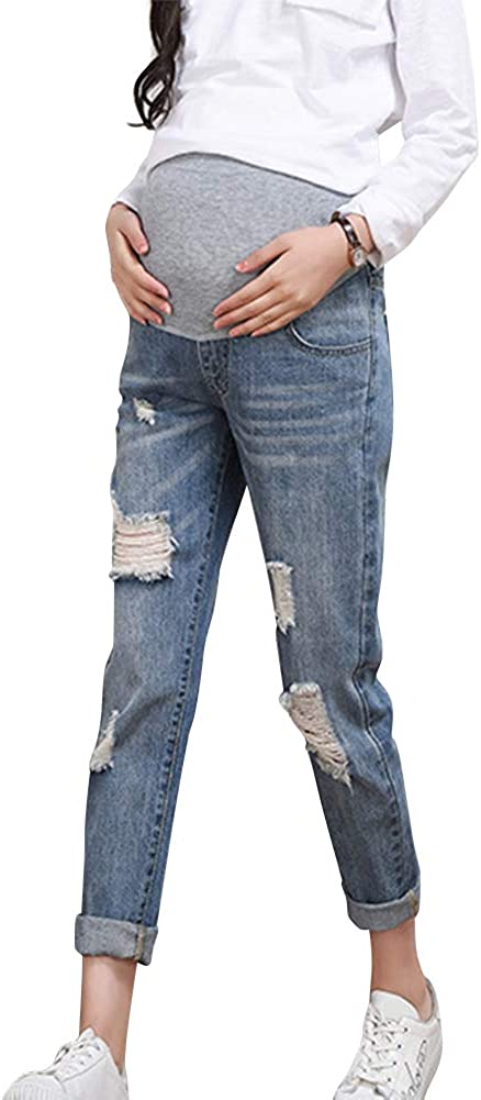 Xiedeai Premaman Jeans per Donna Donna Incinta Jeans Vita Alta Elastico Cintura maternit/à Pantaloni Casual Strappati Denim Pantaloni