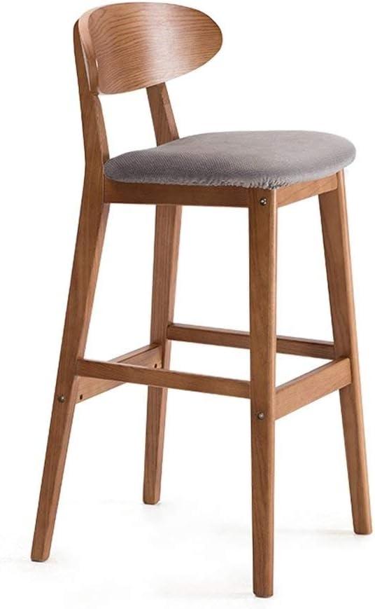 AJZXHE Tabouret de bar Siège en bois massif de tabouret de bar de cuisine antique vintage de style industriel, siège en tissu lin, Tabouret de bar (Color : D) E