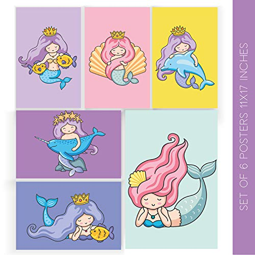 """Mermaid Room Decor   Set Of Six 11X17"""" Mermaids Wall Decorations   Comes With Sticky Squares For Easy Installation   6 Print Posters   Girls Art Decoration For Your Room, Bathroom, Bedroom Or Home"""