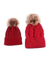 2PCS Parent-child Hat, Mother Baby Warm Knit Hat Fur Wool Beanie Ski Cap