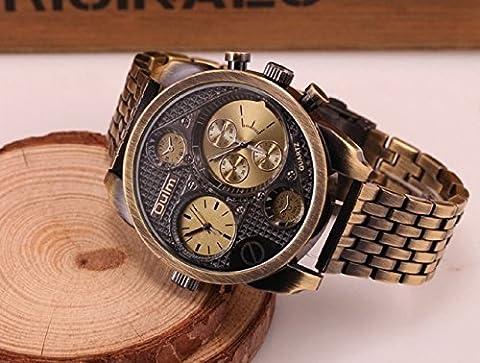 Oulm Luxury Watch Brand Men Full Steel 4 Small Dials Men Military Antique Clock Quartz Mens Watch (Men Antique Watch)