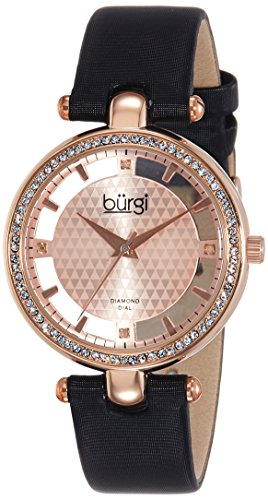 Burgi Women's BUR104RG Rose Gold-tone Diamond and Crystal Black Satin Strap Watch