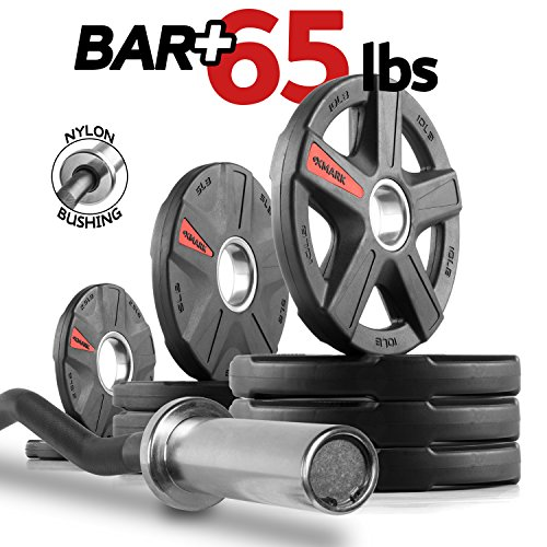 XMark Olympic EZ Curl Bar with TEXAS STAR 65 lb. Olympic Plate Weight Set, Use with Preacher Curl Bench, Utility or Dumbbell Benches, Bicep Curl and Triceps Extension