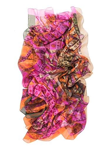 Elizabetta Womens Silk Chiffon Scarf, Extra Large 54'' Watercolor Print, Fuchsia by Elizabetta (Image #3)'