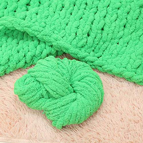 Huge Chunky Green Chenille Knit Blanket Super Chunky Hand Knit Throw,Hand Knitted Chenille Throw Blankets,Thick Knit Blanket 47''x59'' Boy Girl Gift by Vesna market (Image #1)