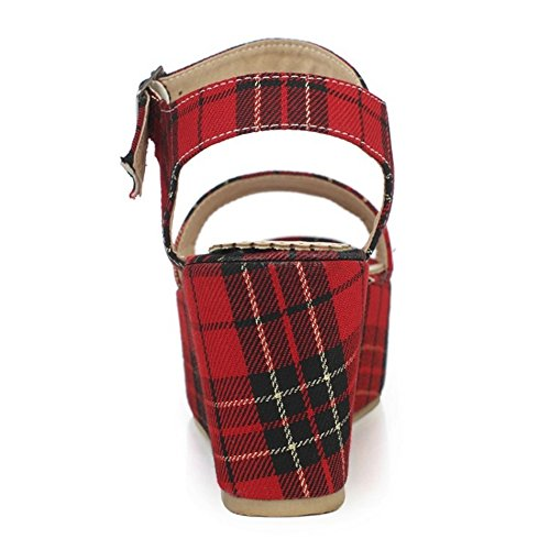 TAOFFEN Mujer Tacon Alto Sandalias Moda Slingback Tacon De Cuna Al Tobillo Verano Zapatos Rojo