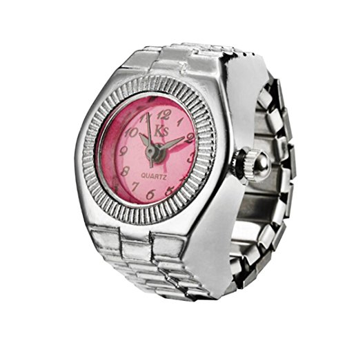 Sinwo Dial Quartz Analog Watch Creative Steel Cool Elastic Quartz Finger Ring Watch Gift (Hot Pink)