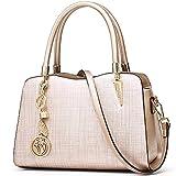 FOXER Women Leather Handbag Purse Top Handle Crossbody Bag Leather Tote Shoulder Bag (Gold)