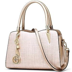 FOXER Women Leather Handbag Purse Top Handle Crossbody Bag Leather Tote Shoulder Bag