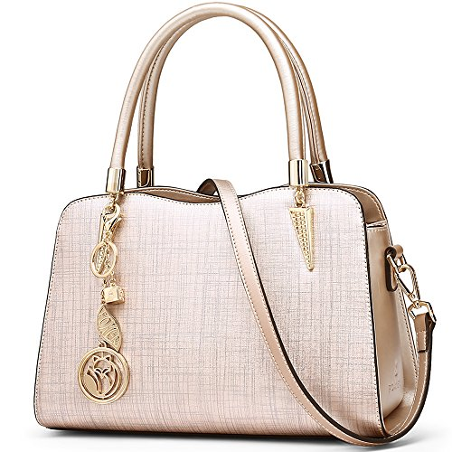 FOXER Women Leather Handbag Purse Top Handle Crossbody Bag Leather Tote Shoulder Bag (Gold) by FOXER