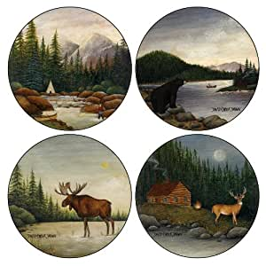 CoasterStone AS8580 Absorbent Coasters, 4-1/4-Inch, Northwoods River Bear Moose Deer Collection, Set of 4