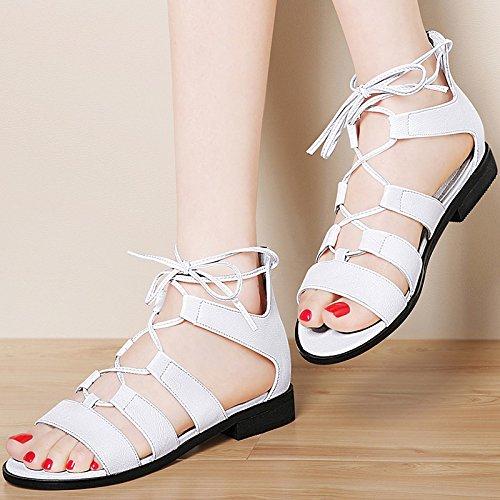 Mujeres Las White Los Nuevos MUYII De Zapatos Sandalias De Planos Para Zapatos Coreanos Simples De El Moda Verano La Estudiantes Romanas fnxxtI