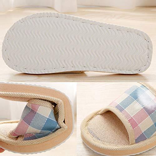 De Femmes Maison Plancher D'été De Lin De pour Striped Fogun Hommes Linen Chaussures Slipper Sandales 7dBqBSz