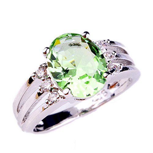 Green Oval Charm (Psiroy 925 Sterling Silver Grace Womens Band Charms 10mm8mm Oval Cut Green Amethyst CZ Filled)