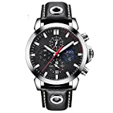 Mens Watches BENYAR Fashion Business Quartz Waterproof Watch-Leather Watch Date Display (red,White)