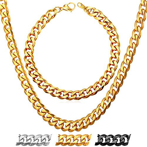 Men's Chain 2 Pieces Necklace & Bracelet Set Costume Jewelry 18K Gold Plated Cuban Curb Link Chains 18