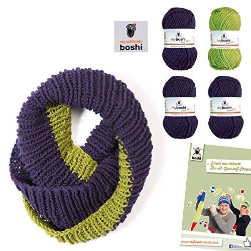 myboshi Loop Schal Strickset selfmade Label, Anleitung San Jose + 4x50gr Wolle: (Limettengrün Pflaume)