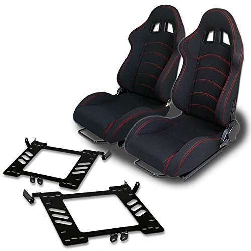 (Pair of RST1BK Racing Seats+Mounting Bracket for Volkswagen Golf/Jetta/Beetle A4 Typ 1J)