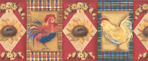 Brewster 137B59147 Borders and More Sunflower Rooster Wall Border, 9-Inch by 180-Inch