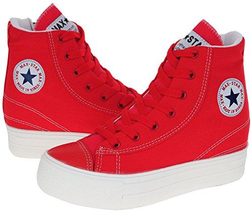 À Fermeture Maxstar C2 Glissière Grand dessus Haut C2 De Plus rouge Trous Chaussures 7 Sport Chaussures Semelle De Sport rgqx1rIt