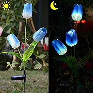 Homeleo Outdoor Solar Tulip LED Flower Light, Solar Garden Stake Flowers, Decorative Solar Patio Lawn Lamp, Path Landscape in-ground Light Up Flowers Lights(Blue)