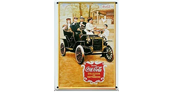 COCA COLA de lata pequeña de coche antiguo Pub del Metal: Amazon ...