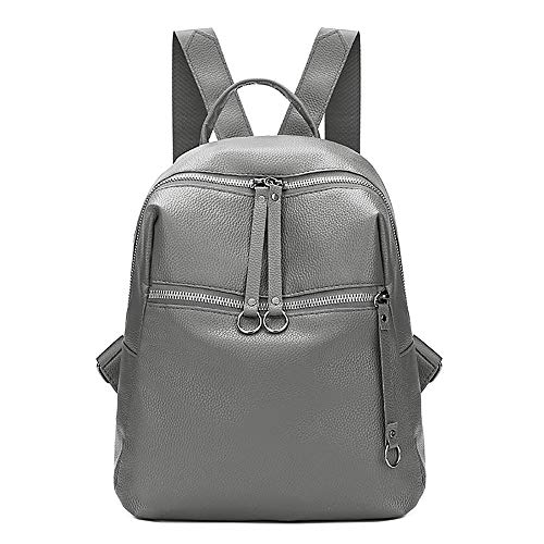 Rucksack School Bag,Rakkiss Women Leather Backpack Girl Travel Satchel Lightweight Backpack Black]()