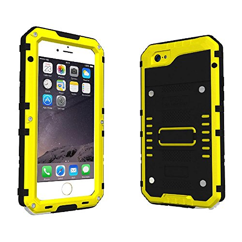 KOBWA iPhone 6 6s Case,Heavy Duty IP68 Waterproof Shockproof Dirtproof Full Protective Rugged Case with Zinc Alloy Shell, Tempered Glass Screen Full Sealed Case Cover for iPhone 6 6s