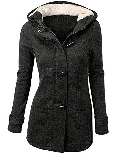 FOUNDO Women Classic Winter Hooded Wool Blended Trench Warm Jacket Pea Coat Dark Gray L