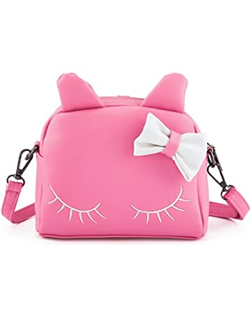 Pinky Family Cute Cat Ear Kids Handbags Candy Color Crossbody Bags PU  Leather Shoulder Bags ( 34a933c610e86