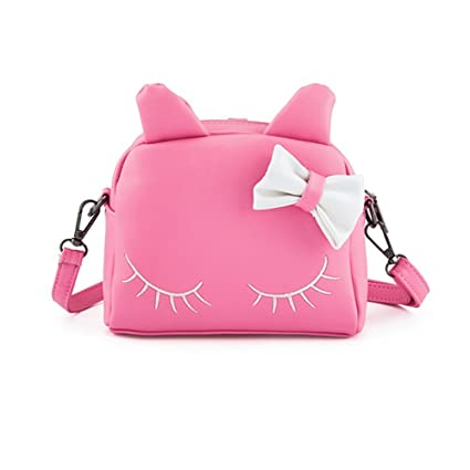 Pinky Family Cute Cat Ear Kids Handbags Candy Color Crossbody Bags PU  Leather Shoulder Bags ( 5a68868bd55aa