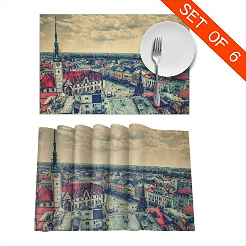 Baerg Table Mats,Placemat Set of 6 Non-Slip Washable Place Mats - Prague Square Heat Insulation Stain Resistant Kitchen Dining Table Mats 12x18 in -