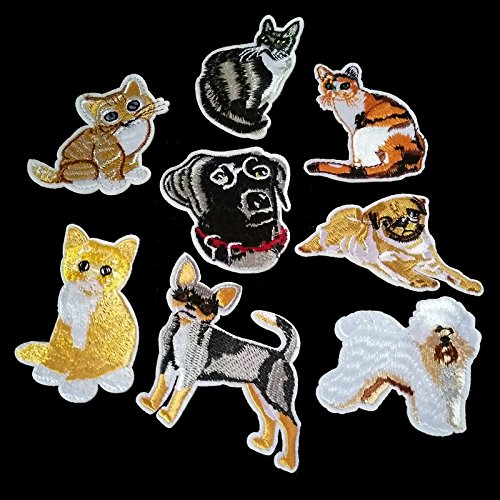 8pcs mixed cartoon animal cat and dog sewn with patterned emblem DIY dress Embroidered Iron patch dress Applique