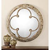 "French Country Hand Forged Metal Round Wall Mirror 36"" Distressed Ivory & Rust"