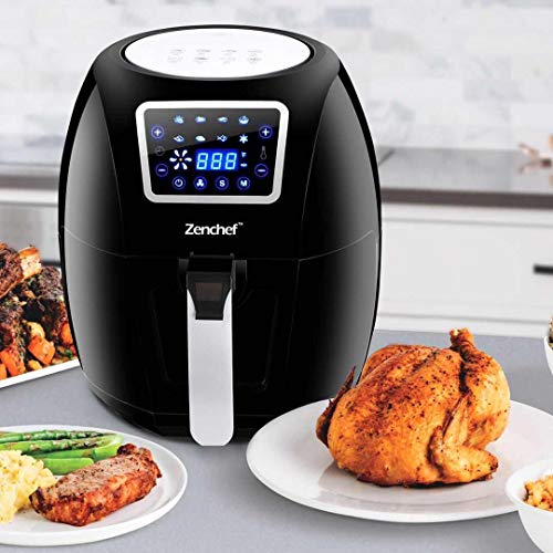 SUPER DEAL ZenChef PRO XXL Hot Air Fryer Family Size 5.8 Qt. 8-in-1 Digital Air fryer+ Recipe Books, Upgraded Full Touch Screen, 1700W