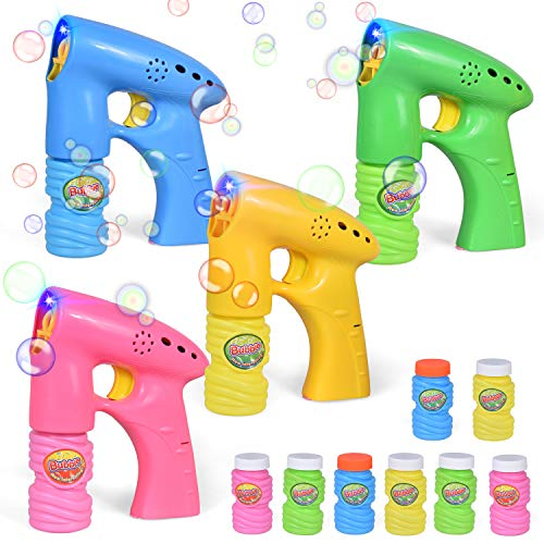 FUN LITTLE TOYS 4 Pack Bubble Guns, Bubble Machine LED Bubble Blaster for Easter Egg Stuffers, Easter Party Favors, Outdoor Toys, Summer Toys Include 8 Bubble Solution