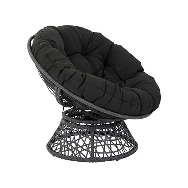 OSP Designs Papasan Chair with 360-degree Swivel, Black Cushion Frame