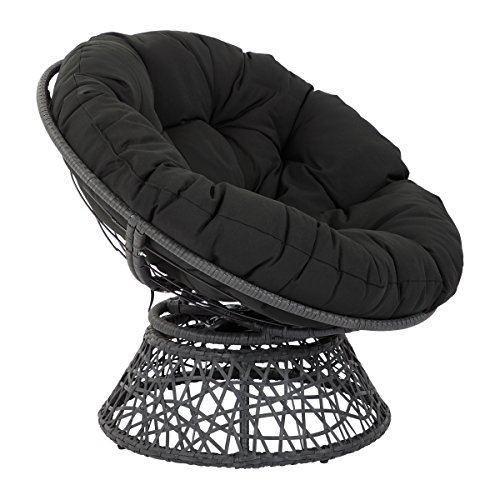 OSP Designs  Papasan Chair, Black (Rattan Chair Cushions Replacement Swivel)