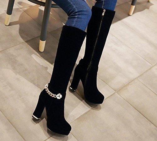 Carolbar Womens Zip Chians Rhinestones Platform High Heel Tall Boots Black gxHj8Gji