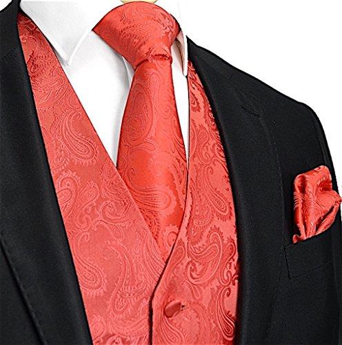 Brand Q Men's 3pc Paisley Vest Set-Coral-2XL ()