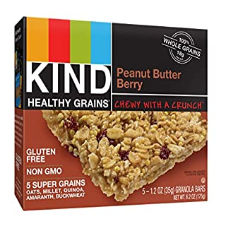 KIND Healthy Grains Bars, Peanut Butter Berry, Gluten Free, 1.2 oz, 5 Count (8 Pack)
