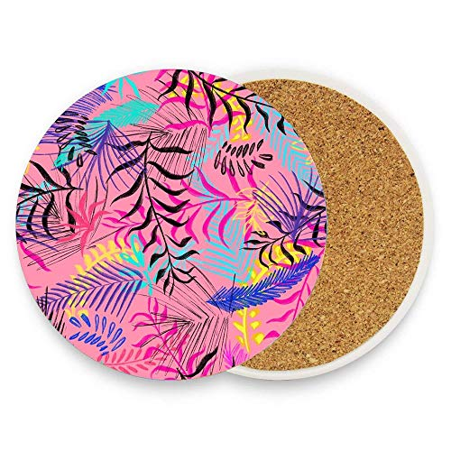 Ceramic Coaster Pack of 1, Reason Leaves Design Absorbent Stone Coasters for Cold Drinks Coffee Mug Glass Cup Place Mats