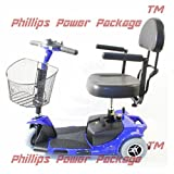 """Zip'r Mobility - Zip'r Roo - Travel Scooter - 3-Wheel - 16.5""""W x 14.5""""D - Blue - PHILLIPS POWER PACKAGE TM - TO $500 VALUE"""