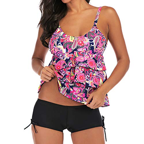 a092a87c044dfa Pengy Women Sexy One Piece Swimsuits Printing Ruffled Off Shoulder Flounce  Monokini Bathing Suits Pink