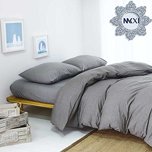 Solid Elegant Comforter Cover, MKXI Home Bedroom Cotton Grey Man Duvet Cover Set