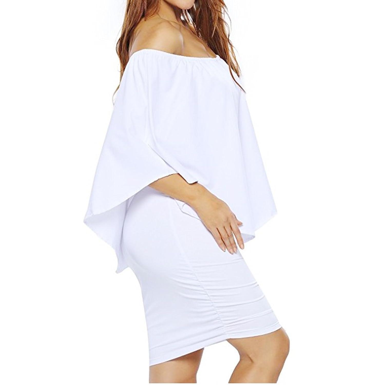 Women's Sexy Off Shoulder Ruffles Bodycon Party Club Mini Dress